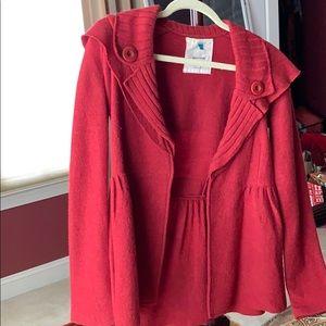 Anthropologie Merino Wool Red Sweater Sz XS